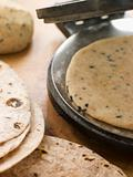 Chapatti Press with Chapatti Breads