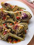 Roasted Globe Artichokes with Aubergine Peppers and Olives