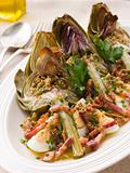 Roasted Globe Artichokes with Pancetta Egg and Garlic Breadcrumb