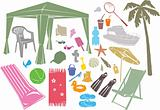 A set of summer vector design elements.