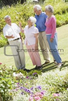 Group of senior friends in garden