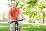Senior man on cycle ride