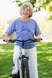 Senior woman on cycle ride