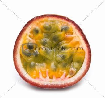 slice fresh passionfruit on white background