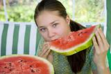 teen with watermelon