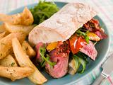 Steak and Roasted Pepper Ciabatta Sandwich with Spiced Potato We
