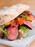 Sirloin Steak and Roasted Pepper Ciabatta Sandwich