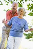 Senior couple having fun outside