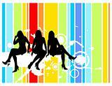 women and grunge pattern