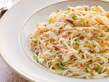 Bowl of Crab Linguini with Chilli and Coriander
