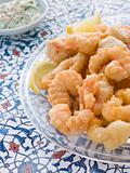 Dish of Fritto Misto di mare with Herb Dressing
