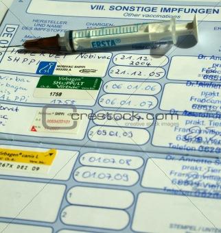 Animal passport with impfungen