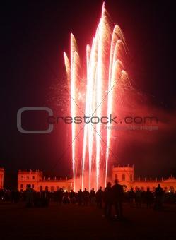 Firework at the Orangerie castle in Kassel, Germany