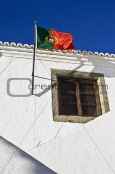 Portuguese flag in Monsaraz, Alentejo, Portugal