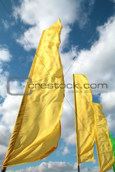 brightly yellow flags