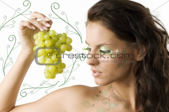 brunette and grape