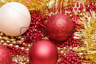Christmas glitter balls in red and white colors