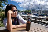 Woman in marina