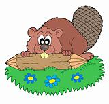 Beaver with log vector illustration