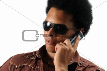 Trendy man using cell phone