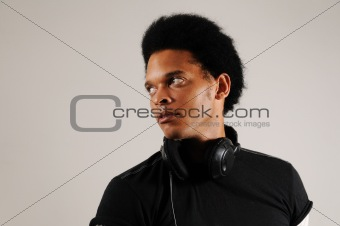 African man with headphones