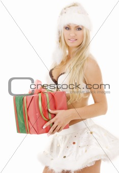 santa helper girl in white lingerie with gift box