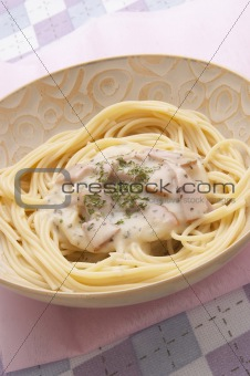 Bacon Spaghetti in cream Sauce