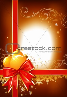 Christmas background / bow,  balls and ornament / vector