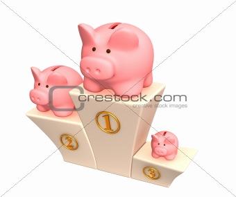 3d piggy banks on a pedestal