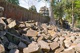 wall stones, Ta Prohm temple, Angkor, Cambodia