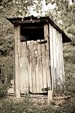 tradtional wooden outside toilet