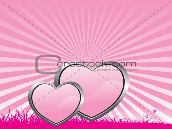 beautifull pink background with two heart, illustration