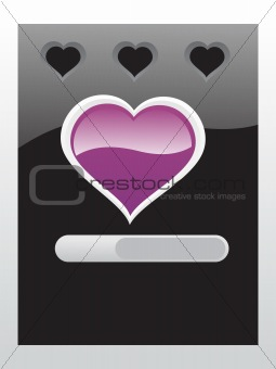 black vector banner of hearts theme