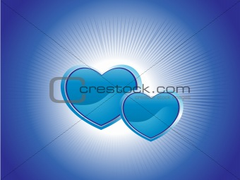 blue background with two heart, illustration