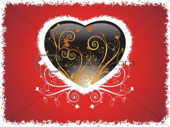 grunge frame heart with red background, wallpaper