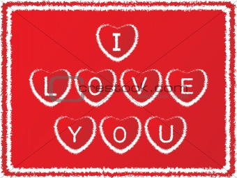 grunge frame with love notes on red background_4, illustration