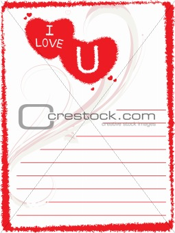 grunge frame with love pattern