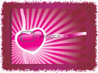 grunge frame with pink heart, banner