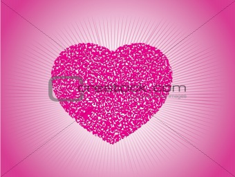 grunge heart with abstract background, illustration