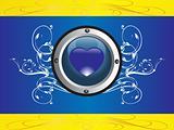 rounded frame with heart logo on floral blue background, illustration
