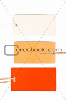 Three cardboard tags isolated