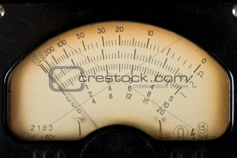 Vintage analog scale of a measurment device