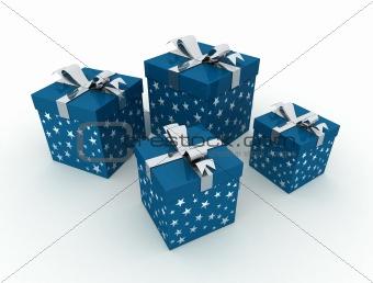 Four blue christmas box