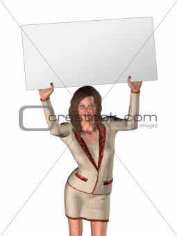 3D woman and board