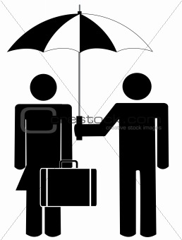man holding umbrella for woman