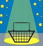 shopping basket in the spotlight