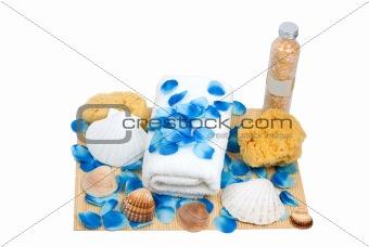 Towel, slippers, sponge ready for spa