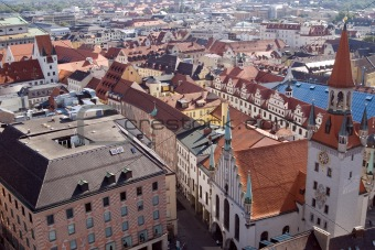 Tile roofs of Munich, Germany (1)