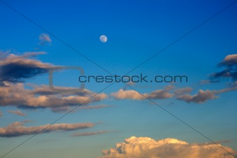Beautiful blue sky with full moon