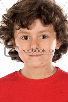 portrait of a handsome boy with red shirt